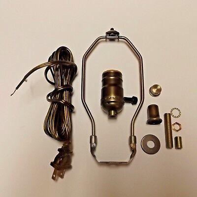 "Table Lamp Wiring Kit ~ 3 WAY Socket ~ 8/' Cord ~ 8/"" Harp ~ POLISHED BRASS"
