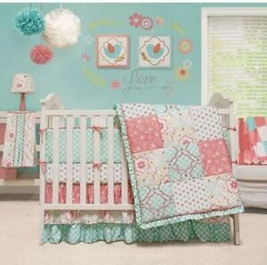The Peanut Shell 3 Piece Baby Crib Bedding Set Mint Green Dot