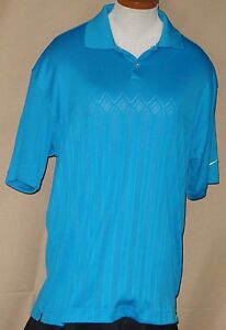 Nike golf fit dry mens teal polyester polo shirt size for Mens teal polo shirt