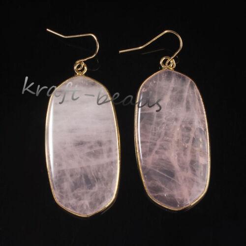 Or Jaune Plaqué LAPIS LAZULI Crystal Quartz Gemstone Drop Dangle Crochet Boucle d/'oreille