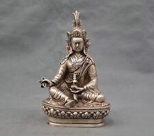 10'' China Silver Bronze Buddhism Padmasambhava Lotus Born Buddha Statue