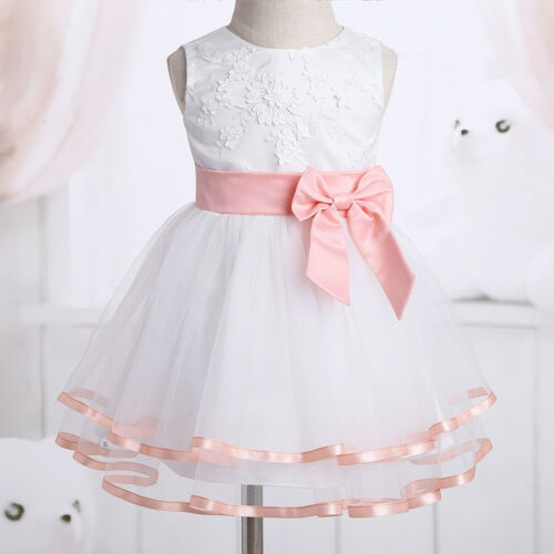 Infant Baby Mesh Christening Princess Flower Girls Dress Wedding Baptism Outfit