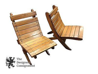 2 Wood Deck Chairs Patio Beach Piece