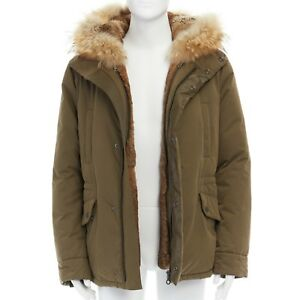 ca57ead4d8fa YVES SALOMON HOMME brown rabbit fur lined hooded padded green parka ...