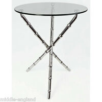 Aluminium Round Table 50cm Glass Top Bamboo Effect Lamp/side/occasional Table