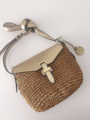5487c994a8108d ... clearance michael kors straw naomi pale gold leather medium messenger  crossbody bag nwt ac498 1c585