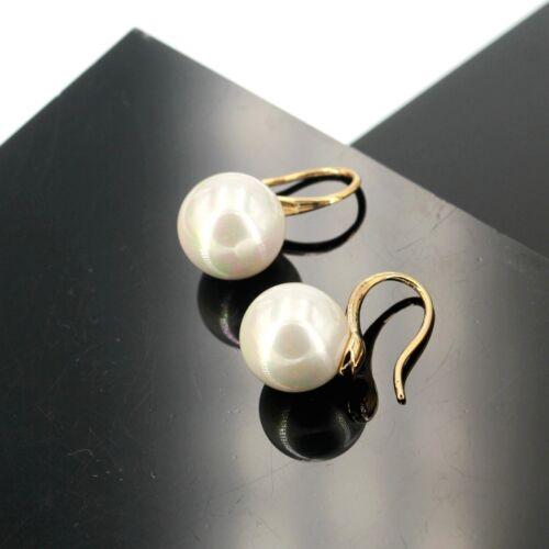 Boucles d/'Oreilles Doré Perle Blanc 13mm Class Mariage BB15