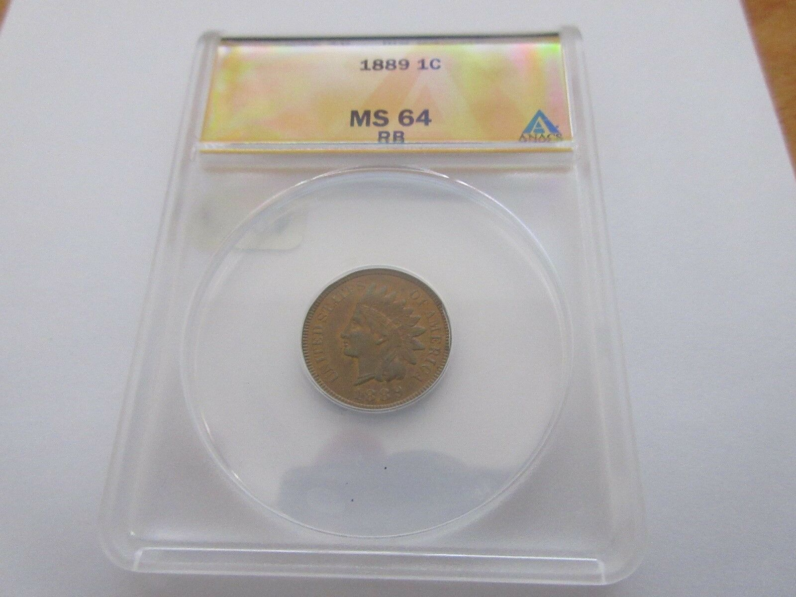 1889 . Indian Head Cent , MS 64 , RB , Anacs