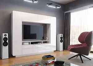NEO Modern Entertainment Center for TV up to 60 White Semi Gloss Finish