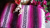 Mexican Falsa Blanket Pink,red & Black Bohemian Classic Woven Falsa Extra Large