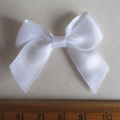 White 7mm Satin Ribbon Bows Crafts Weddings Card Making Scrap Book
