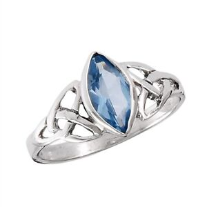 Sterling-Silver-75ct-Simulated-Marquise-Blue-Cubic-Zirconia-Celtic-Ring