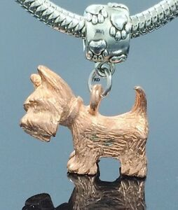 Scottie Terrier Dog with Scottish Flag Coat Charm on Paw Print Slider Bead