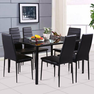 Glass Black White Dining Table And 4 6 Chairs Seat Dining Room Set