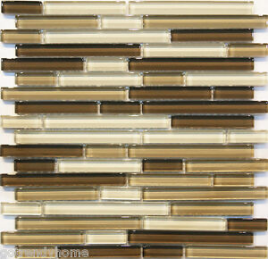 Image Is Loading 1 Sf Neutral Brown Gl Mosaic Tile Backsplash