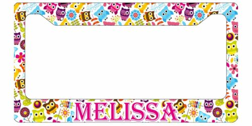 PERSONALIZED LICENSE PLATE FRAME CUSTOM CAR TAG CUTE OWLS