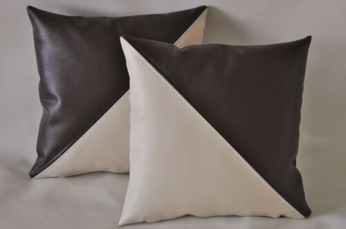 2 Cream & Brown Diagonal Faux Leather Cushion Covers 16 18 20 Pillows