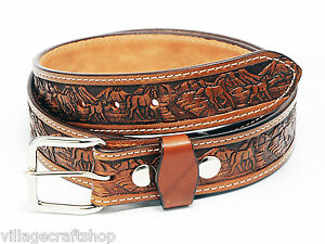 "1 1/2"" WIDE AMISH HANDMADE EMBOSSED BELT 8 DESIGNS PG 3"