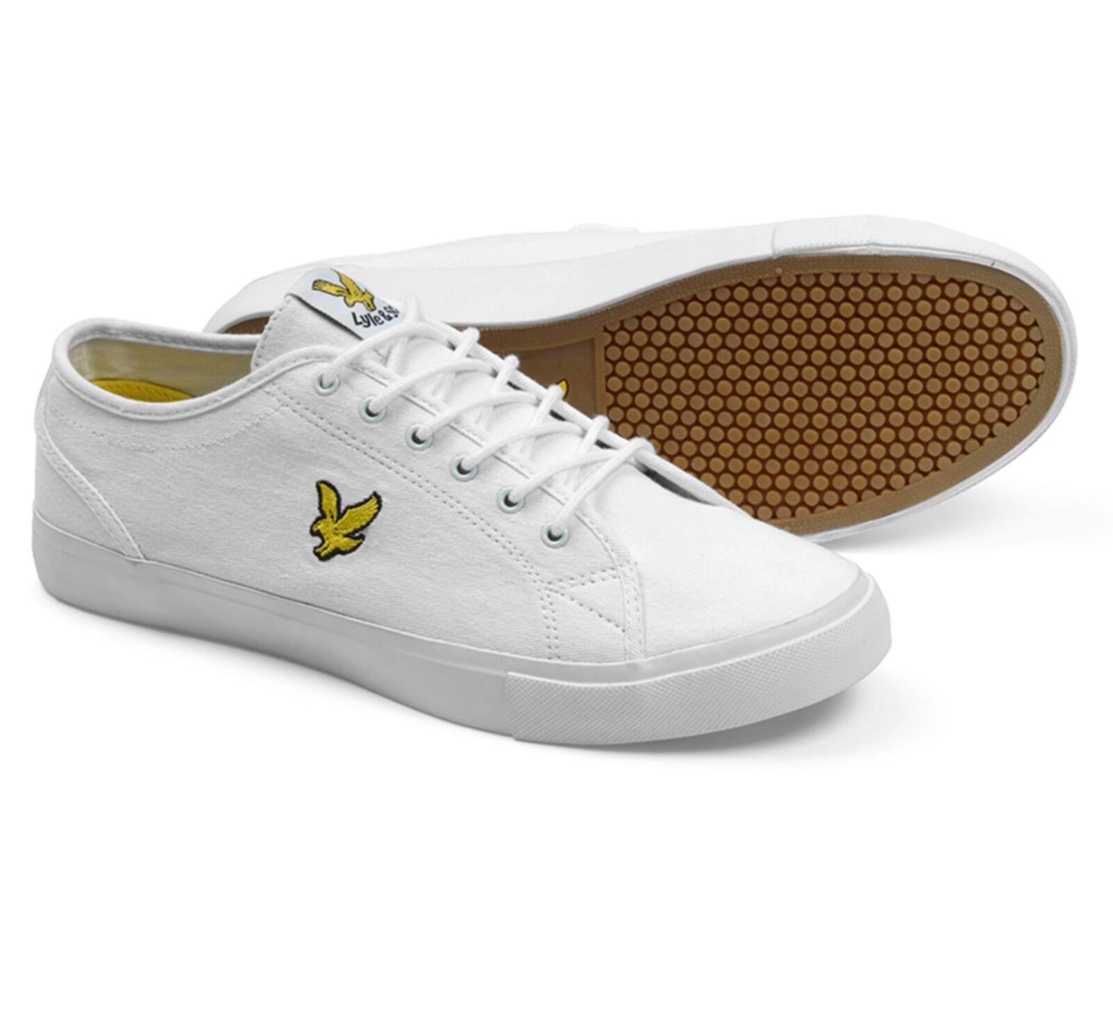 Casual salvaje Lyle & Scott Teviot twill de moda de lona Eagle Plimsolls Zapatos Entrenadores Blanco