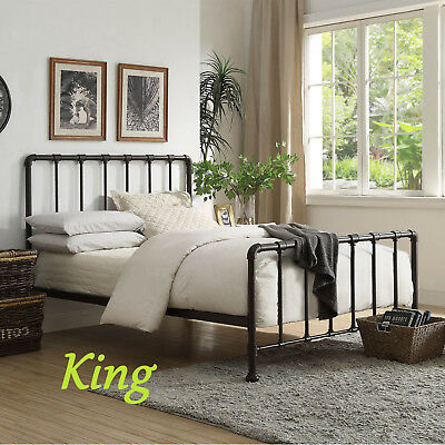 New York Metal Rustic Hollow, Pipe Bed Frame Queen