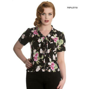 Hell-Bunny-Shirt-Top-40s-50s-Black-FREYA-Pink-Flowers-Floral-Blouse-All-Sizes