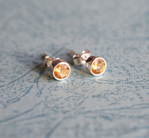 925-Sterling-silver-stud-earrings-with-natural-faceted-Citrine-gemstones