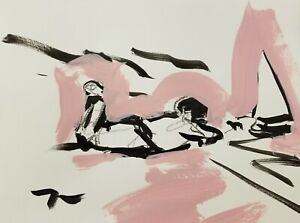 JOSE-TRUJILLO-Black-Pink-ACRYLIC-on-Paper-PAINTING-9x12-034-ABSTRACT-FIGURE-CHILD