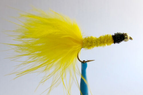 10 x Mouche peche Streamer Dognobbler Jaune BILLE H8//10//12 fly fishing trout