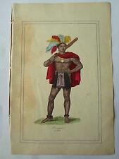 MEXIQUE costume de guerrier LITHOGRAPHIE originale du recueil  M.BOULGON 1860