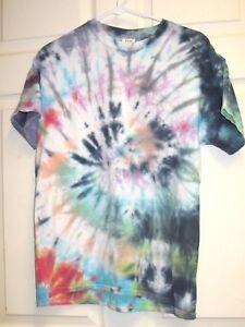 GILDAN-Cool-Tie-Dye-Swirl-Short-Sleeve-T-shirt-Size-M-EUC-Green-Orange-Blue