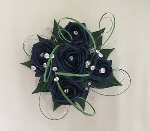 Details About Flowers Navy Blue Wedding Cake Topper Table Decoration Fish Bowl Centrepiece