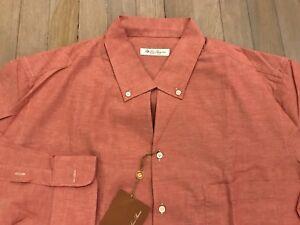 maat Shirt 495Loro donker gemaakt groot katoen Piana in zalm linnen Italië en CedrxoBW