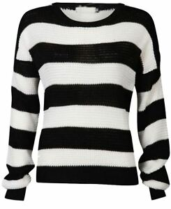 Womens-Monochrome-Black-White-Stripe-Boxy-Jumper-Ladies-Long-Sleeve-Jumper-Top