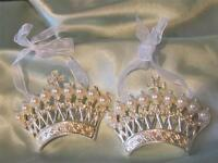 2 Metal Crown Ornamentspearl & Rhinestonesshabby Chiccottagefrenchcrown