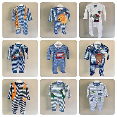BNWT NEXT 3-6-9-12-18 months boys SLEEPSUITS//BABYGROWS SET *LION//ANIMALS *BLUE