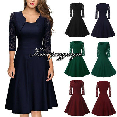 Womens Vintage Lace Formal Swing Skater Ladies Evening Party Prom Retro Dress