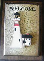 retro Primitive Vintage Crackle Wood 3 dim LIGHTHOUSE WELCOME Decor Sign 5.5x3.5