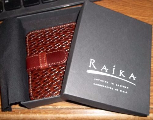 NEW IN  BOX RAIKA PHOTO CARD WALLET TOP GRAIN BRAIDED LEATHER MEN WOMEN ZZ3