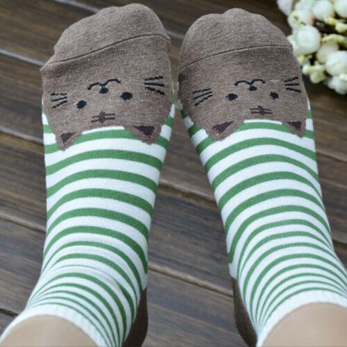 Hot Cute Cat Footprints Striped Soft Socks Women Girl Cartoon Cotton Socks Floor