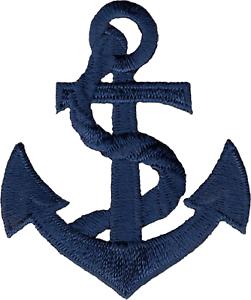 22014 Navy Dark Blue Anchor /& Rope Nautical Ship Boat Retro Iron On Patch Badge