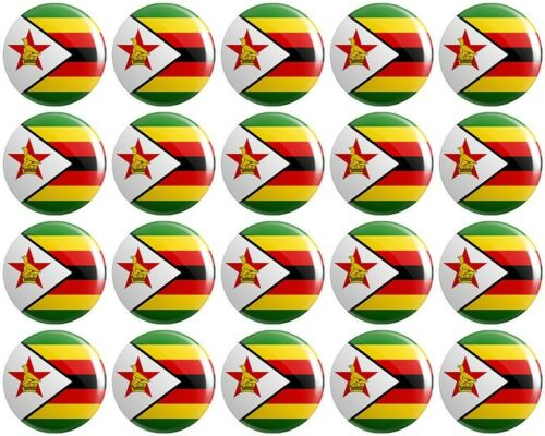 Republic of 20 x Zimbabwe Flag BUTTON PIN BADGES 25mm 1 INCH