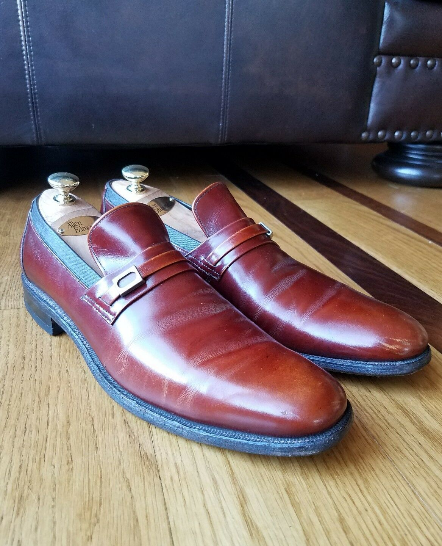 Vintage Allen Edmonds LYNN Brown Leather Smoking Loafers Narrow Sz 10.5 AAA USA Scarpe classiche da uomo