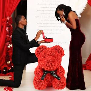 40cm-Ours-en-Rose-Nounours-Mousse-Coeur-d-039-Amour-Fleur-Mariage-Cadeau-Valentin