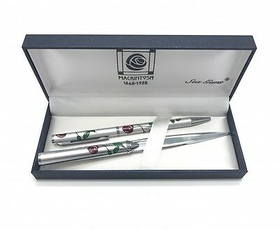 Mackintosh Design Silver Ballpoint Pen In Quality Gift Box