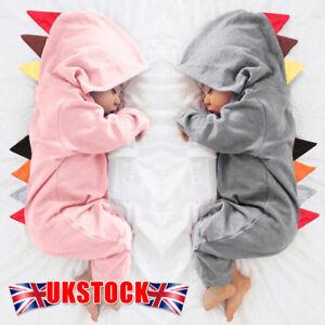 b57705112 Newborn Infant Baby Boy Girl Dinosaur Hooded Romper Jumpsuit Clothes ...