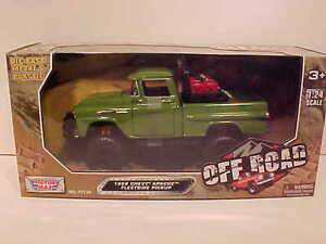 OFF-ROAD-1958-CHEVROLET-APACHE-Pickup-Truck-Die-cast-1-24-Motormax-8-inch-Green