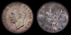 1952-Canada-Silver-1-One-Dollar-Piece-NWL-No-Water-Line-Choice-Toning-AU