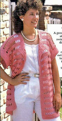Crochet Pattern Ladies Womens Cover Up Summer Cardigan One Size Fits All