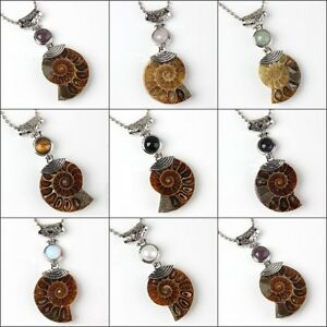 Silver-Natural-Druzy-Ammonite-Fossil-Different-Gemstone-Beads-Pendant-Jewelry