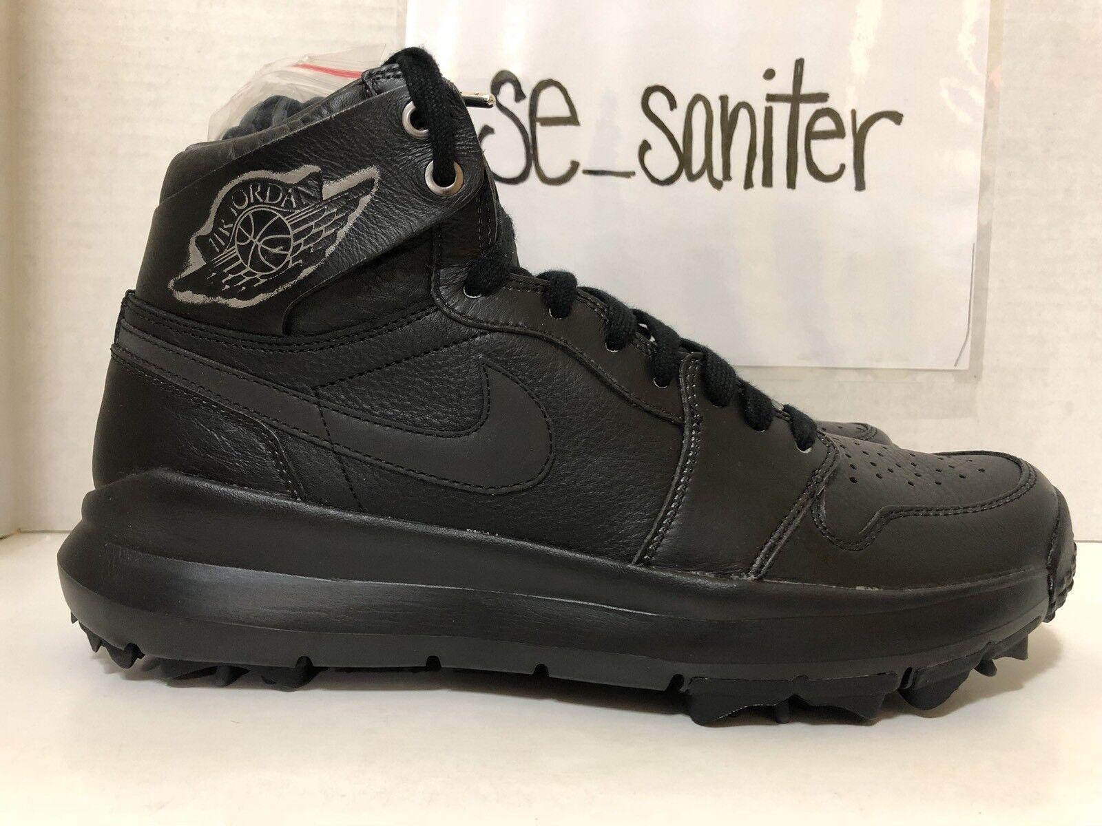 892777ee342 Nike Air Jordan 1 Retro Premium Triple Black Golf Cleats Ah2114 001 ...